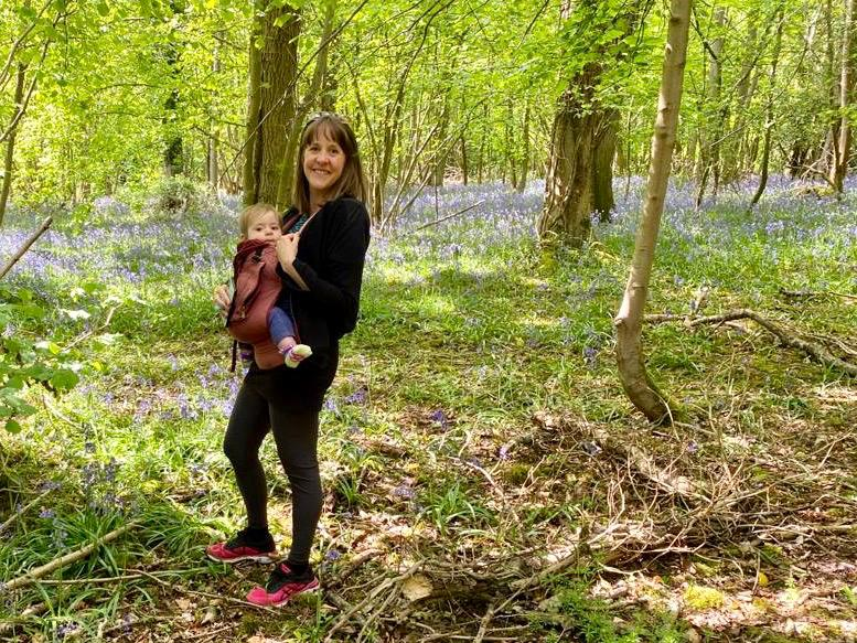 Emma and Mia in bluebells May 2020